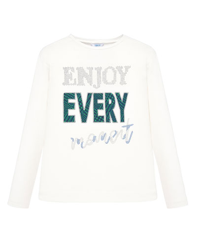 Girl's Enjoy Every Moment Long-Sleeve Tee, Size 8-16