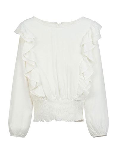 Girl's Long-Sleeve Ruffled Blouse, Size 8-16