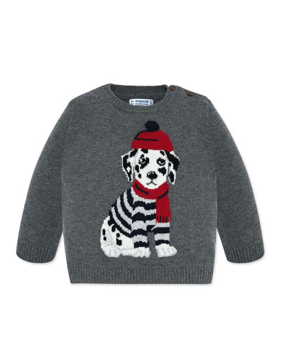 Boy's Dalmatian Intarsia Sweater, Size 12-36 Months