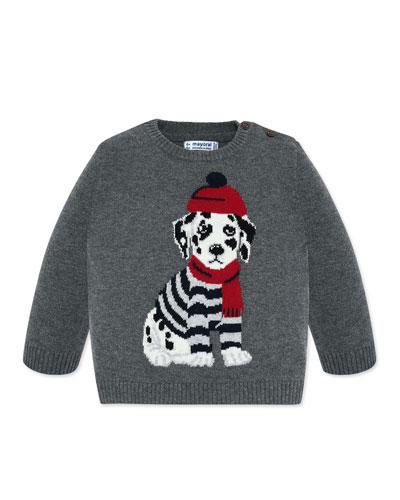 Boy's Dalmatian Intarsia Sweater, Size 12-36 Months