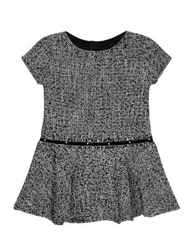 Girl's Short-Sleeve Knit Dress w/ Faux Pearl Belt, Size 4-7