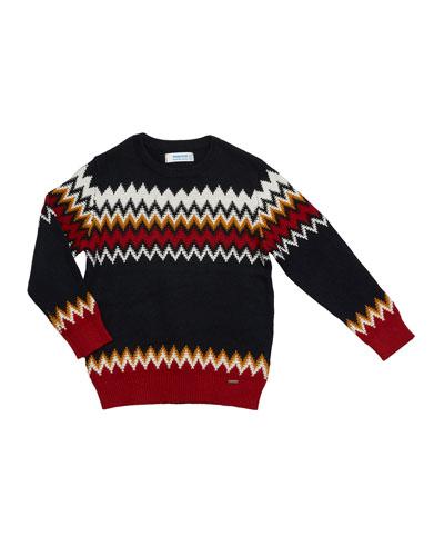 Boy's Zigzag jacquard Sweater, Size 4-8