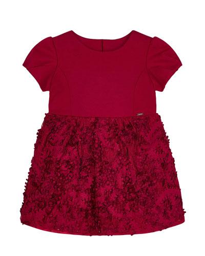 Girl's Floral 3D Lace Cap-Sleeve Dress, Size 4-7