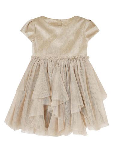 Girl's Velvet Tulle Cap-Sleeve Dress, Size 4-7