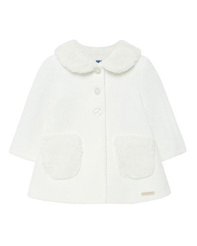 Girl's Knit Dress Coat w/ Faux Fur Trim, Size 6-36 Months