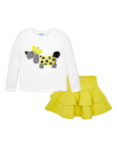 Girl's Long-Sleeve Dog Tee w/ Ruffle Skirt, Size 4-7