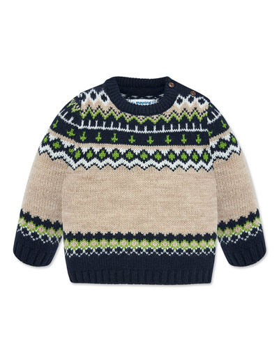 Boy's Fair Isle Knit Sweater, Size 12-36 Months