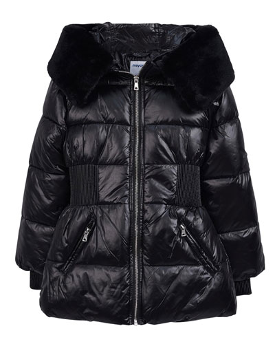 Girl's Glossy Quilted Coat w/ Faux Fur Trim, Size 8-16