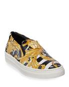 Versace Barocco Print Slip-On Sneakers, Kids