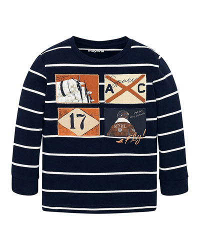 Boy's Aviation Patches Striped Tee, Size 4-8