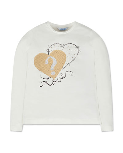 Girl's Long-Sleeve Flip Sequin Heart Tee, Size 8-16