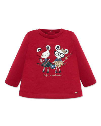 Girl's Take A Picture Mice Graphic Sweater, Size 6-36 Months