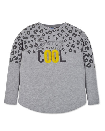 Girl's Sorry We Are Cool Leopard Print Tee, Size 8-16