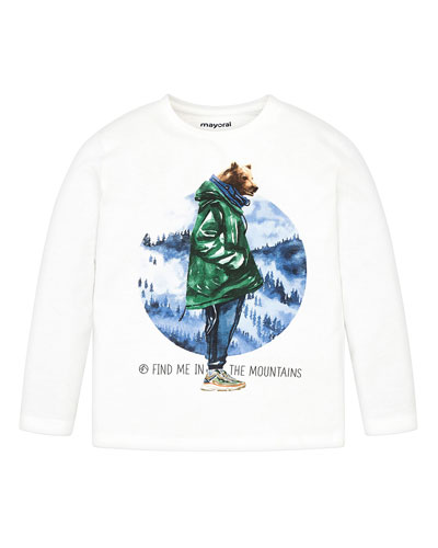 Boy's Graphic Bear Long-Sleeve Tee, Size 4-8