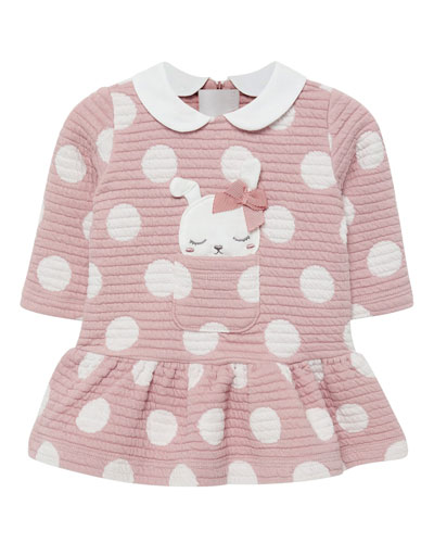 Girl's Quilted Polka-Dot Dress w/ Dog Applique, Size 2-12 Months
