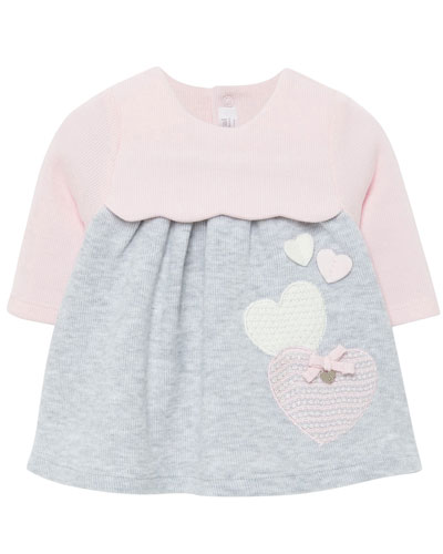 Girl's Two-Tone Knit Hearts Dress, Size 2-12 Months