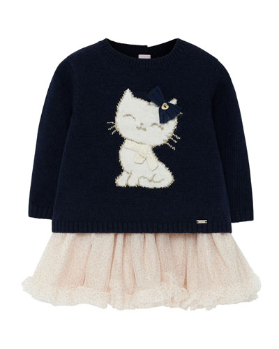 Girl's Cat Knit Sweater Dress w/ Tulle Skirt, Size 6-36 Months