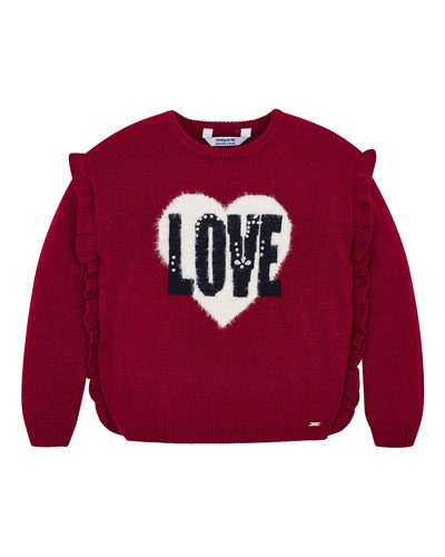 Girl's Love Ruffle Trim Sweater, Size 4-7
