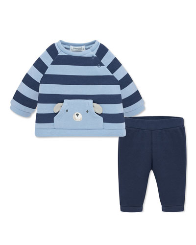 Boy's Striped Plush Sweatshirt w/ Solid Sweatpants, Size 2-12 Months