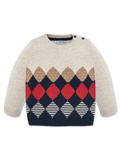 Boy's Mixed Diamond Pattern Knit Sweater, Size 12-36 Months