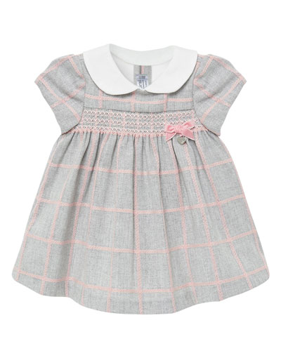Girl's Knit Plaid Smocked Dress, Size 2-12 Months