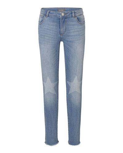 Chloe Skinny Jeans w/ Contrast Knee Stars, Size 2-6