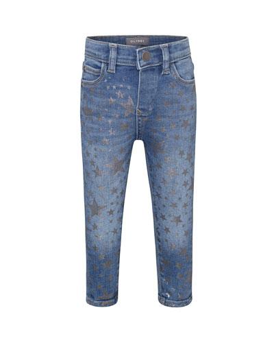 Sophie Metallic Star Print Skinny Jeans, Size 12-24 Months