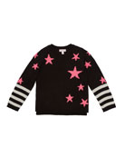 Design History Girls Girl's Star Striped Sweater, Size