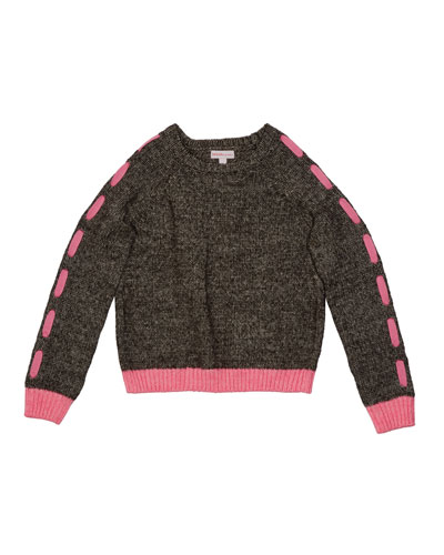 Girl's Lace Up Sleeve Knit Sweater, Size S-XL