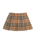 Burberry Girl's Pearly Archive Check Pleated Skirt, Size