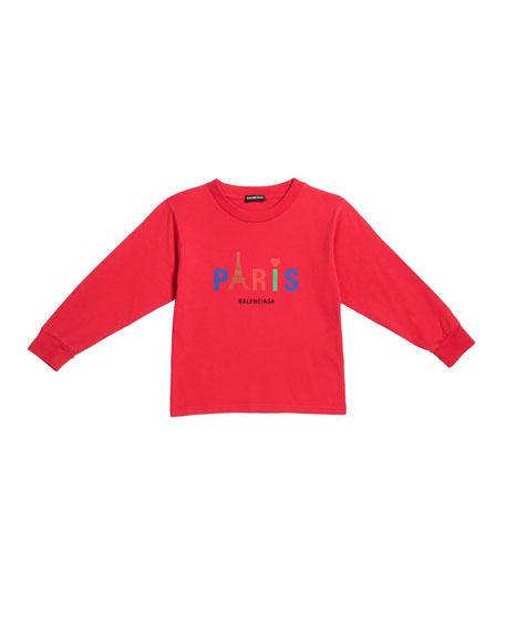 Balenciaga Kid's Paris Multicolor Icon Logo Sweatshirt, Size 2-10