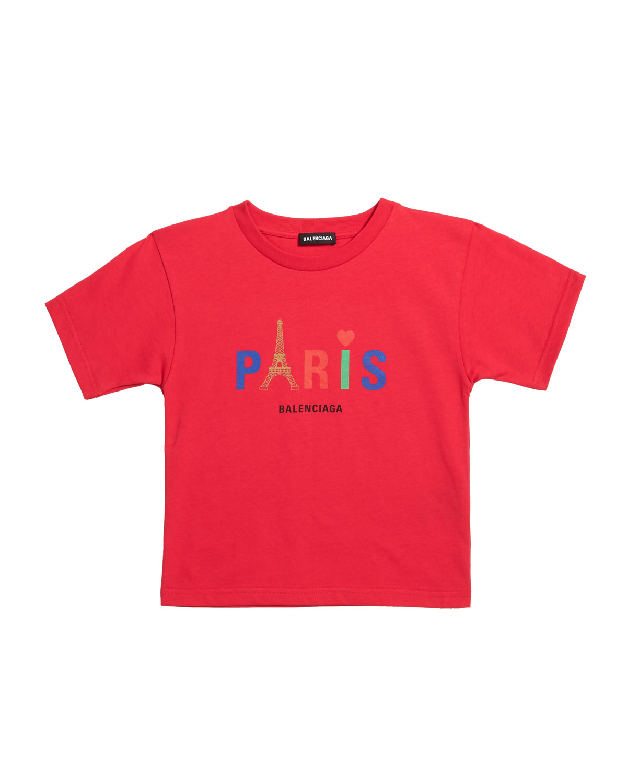 Balenciaga Kid's Paris Multicolor Icon Logo Short-sleeve T-shirt In Red