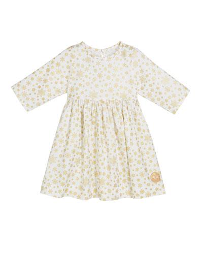 Golden Snowflake Print 3/4-Sleeve Dress, Size 18m-10