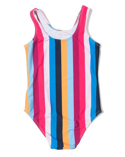 Rainbow Stripe One-Piece Swimsuit, Size 6-14