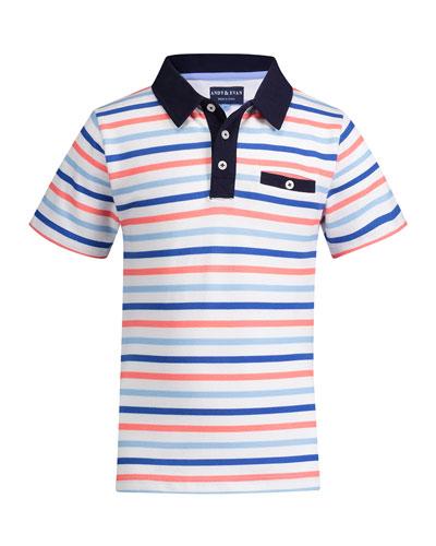 Multicolored Stripe Polo Shirt, Size 8-14