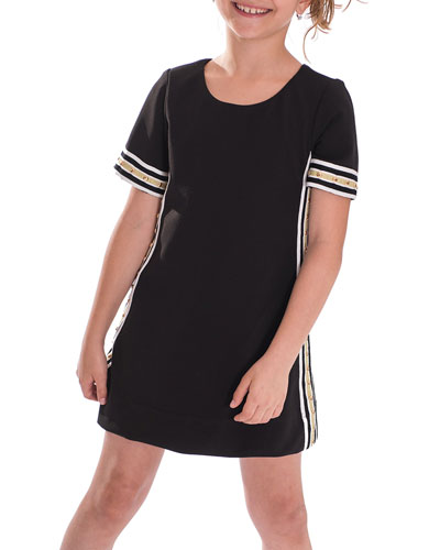 Metallic Racer Stripe Trim Dress, Size 7-16
