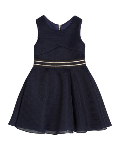 Hey Girl Perforated Knit Sleeveless Dress, Size 4-6X