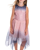 Zoe Girl's Odette Ombre Tulle Scattered Star Dress,