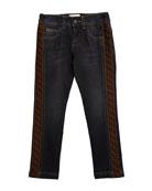 Fendi Boy's Denim Jeans w/ Logo Sides, Size