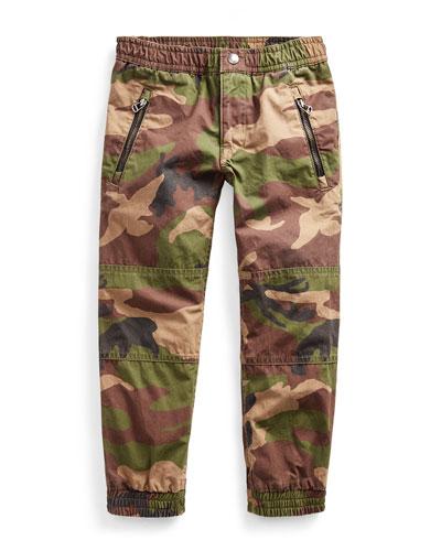 Cotton Poplin Camo-Print Jogger Pants, Size 2-4