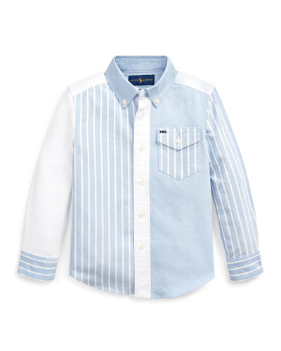 Patchwork Oxford Button-Down Collar Shirt, Size 5-7