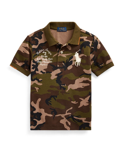 Camo Mesh Polo Shirt w/ Logo Embroidery, Size 2-4