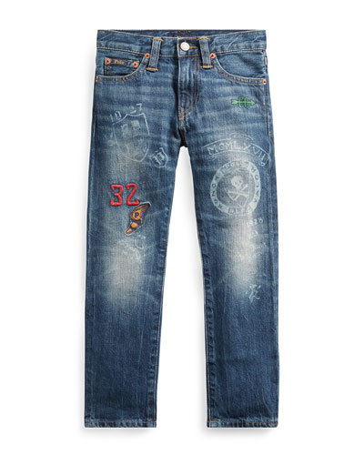 Sullivan Athletic Icons Printed Denim Jeans, Size 5-7