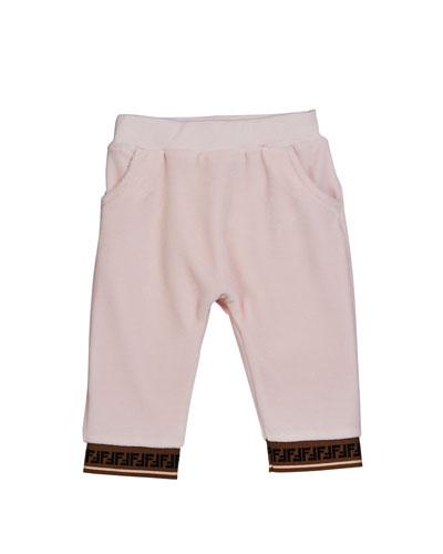 Girl's Velour Sweatpants w/ Logo Trim, Size 12-24 Months