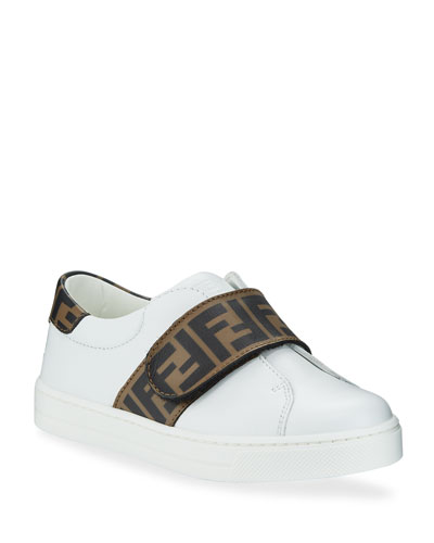 FF Trim Leather Low-Top Sneakers, Kids