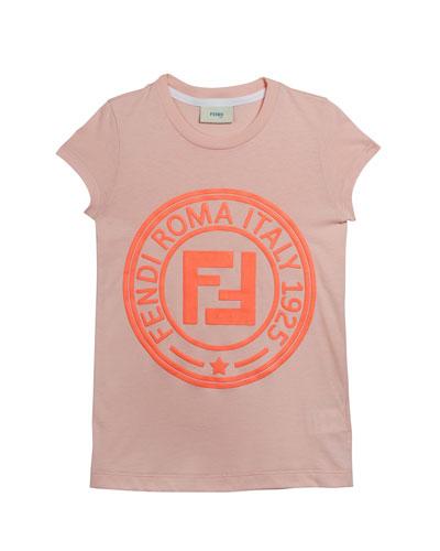 Girl's Cap Sleeve Logo T-Shirt, Size 4-14