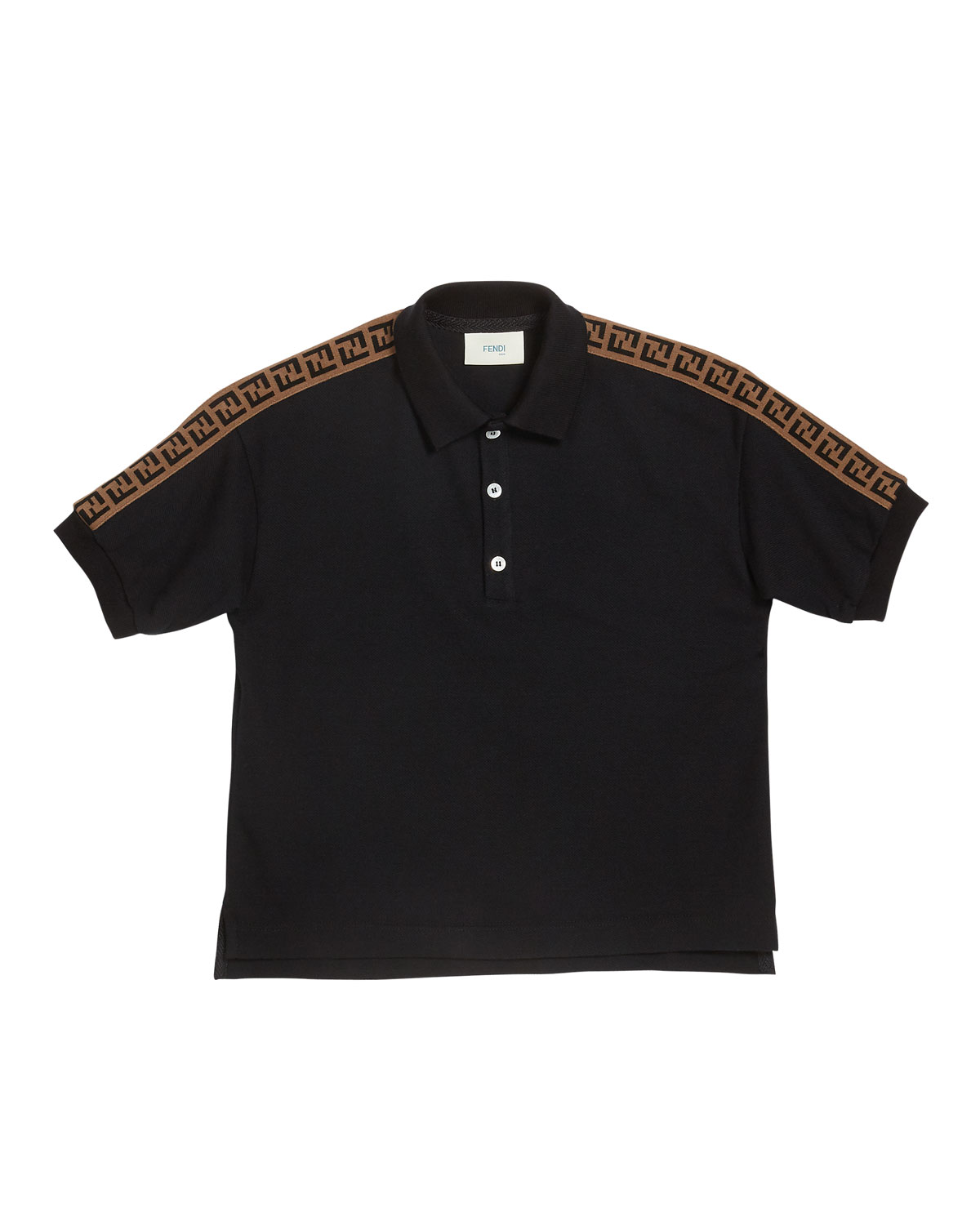 Fendi BOY'S LOGO TRIM POLO SHIRT