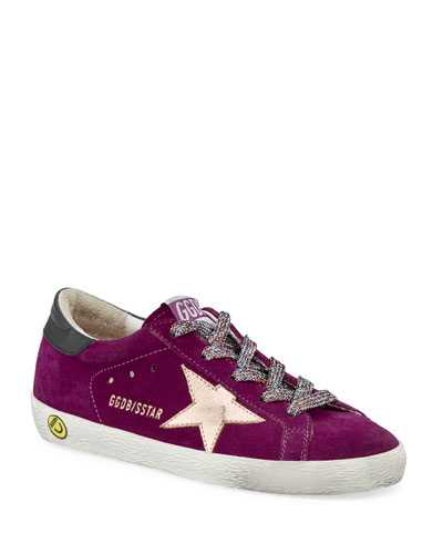 Girl's Superstar Suede Metallic Star Sneakers, Baby/Toddler