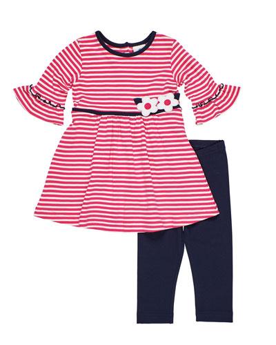 Striped Knit Flower Applique Dress w/ Solid Leggings, Size 2-6X