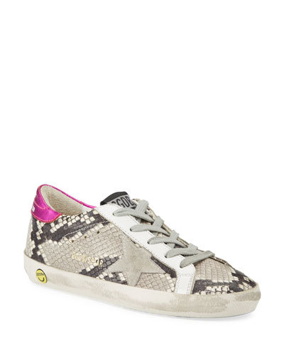 Girl's Superstar Snakeskin Embossed Leather Sneakers, Baby/Toddler